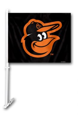Baltimore Orioles MLB Team Logo Car Flag w/Wall Brackett