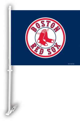 Boston Red Sox Car Flag w/Wall Brackett MLB Logo White & Red
