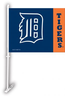 Detroit Tigers MLB Team Logo Car Flag w/Wall Brackett