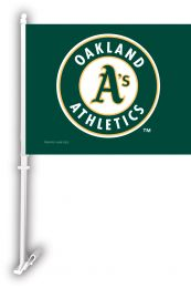 Oakland Athletics MLB Team Logo Car Flag w/Wall Brackett
