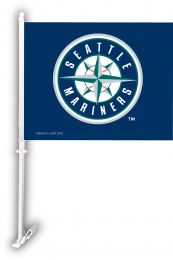 Seattle Mariners Car Flag w/Wall Brackett MLB Team Logo