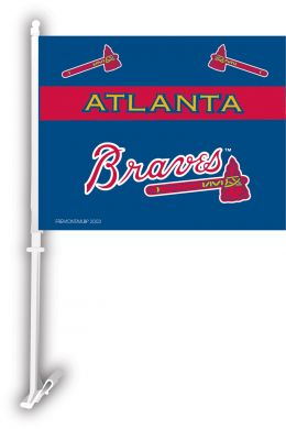 Atlanta Braves Name & Logo MLB Car Flag w/Wall Brackett
