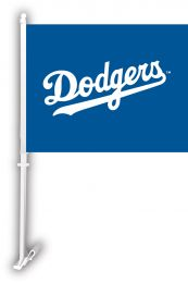 Los Angeles Dodgers Car Flag w/Wall Brackett MLB Team Logo
