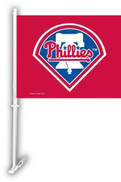 Philadelphia Phillies Car Flag w/Wall Brackett MLB Team Logo