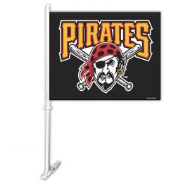 Pittsburgh Pirates Car Flag w/Wall Brackett MLB Team Logo