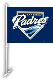 San Diego Padres Car Flag w/Wall Brackett MLB Team Logo