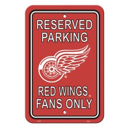 Detroit Red Wings Plastic Parking Sign NHL Team Logo Red & White