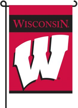 Wisconsin Badgers College Team Logo 2-Sided Garden Flag