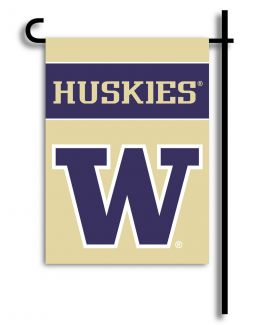 Washington Huskies NCAA College Team Logo 2-Sided Garden Flag