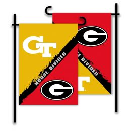 Georgia vs Ga. Tech 2-Sided Garden Flag Rivalry House Divided
