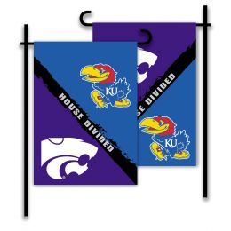 Kansas vs Kansas St. 2-Sided Garden Flag Rivalry House Divided