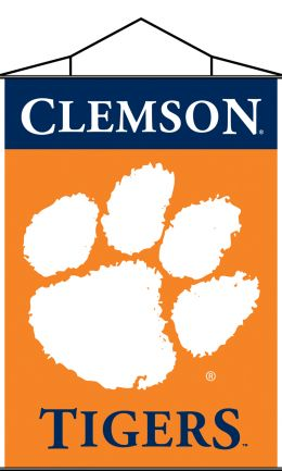 Clemson Tigers Indoor Banner Scroll NCAA Team Logo