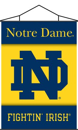 Notre Dame Indoor Banner Scroll w/ Hanger String College Logo