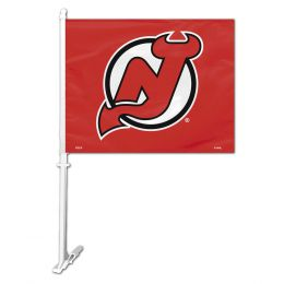 New Jersey Devils NHL Team Logo Car Flag w/Wall Brackett