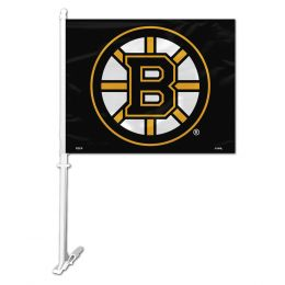 Boston Bruins NHL Team Logo Car Flag w/Wall Brackett