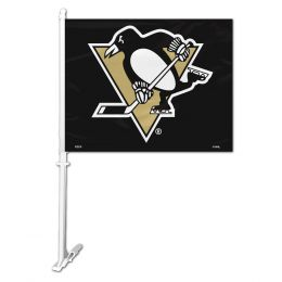 Pittsburgh Penguins NHL Team Logo Car Flag w/Wall Brackett