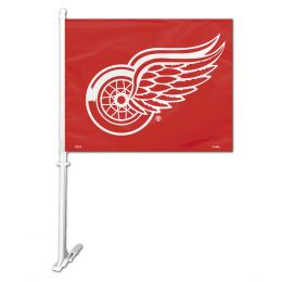 Detroit Red Wings NHL Team Logo Car Flag w/Wall Brackett