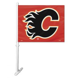 Calgary Flames Car Flag w/Wall Brackett NHL Team Logo Black & Red