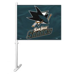 San Jose Sharks NHL Team Logo Car Flag w/Wall Brackett
