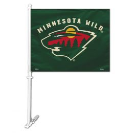 Minnesota Wild Car Flag w/Wall Brackett NHL Team Flag