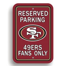 San Francisco 49er's Plastic Parking Sign Reserved Parking NFL Logo