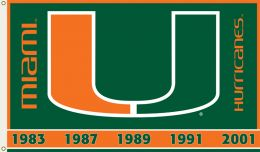 Miami Hurricanes College Logo 2-Sided 3' x 5' Flag w/Grommets