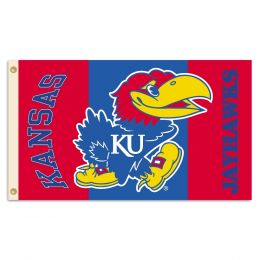 Kansas Jayhawks 2-Sided 3' x 5' Flag w/Grommets NCAA Team Logo