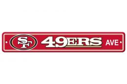 San Francisco 49er's Plastic Street Sign Team Logo Gold & Scarlet