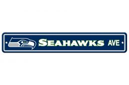 Seattle Seahawks Plastic Street Sign NFL Team Logo Blue & Green