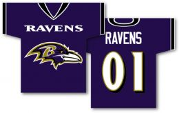 "Baltimore Ravens Jersey Banner 34"" x 30"" 2-Sided NFL Team Logo"