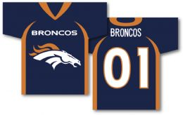 "Denver Broncos Jersey Banner 34"" x 30"" 2-Sided NFL Team Logo"