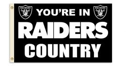 Oakland Raiders NFL Logo 3' x 5' Flag w/Grommetts Black & Silver