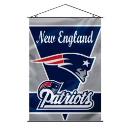 New England Patriots Wall Banner w/ Hanger String Blue & Silver