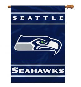 Seattle Seahawks NFL Team Logo 2-Sided 28 X 40 House Banner