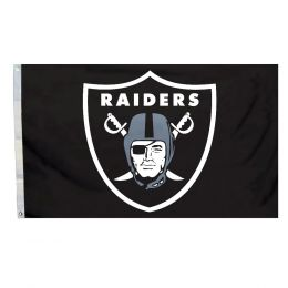 Oakland Raiders 3' x 5' Flag w/Grommetts NFL Black & Silver