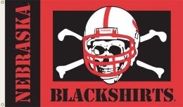 Nebraska (Blackshirts) 3' x 5' Flag w/Grommets College Team Logo