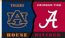 Alabama vs Auburn 3' x 5' Rivalry House Divided Flag w/Grommets