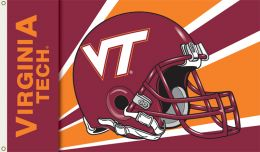 Virginia Tech Hokies 3' x 5' Flag w/Grommets Logo Helmet Design