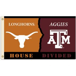 Texas vs Texas A & M 3' x 5' Flag w/Grommets Rivalry House Divided