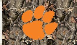 Clemson Tigers 3' x 5' Flag w/Grommets Realtree Camo Background
