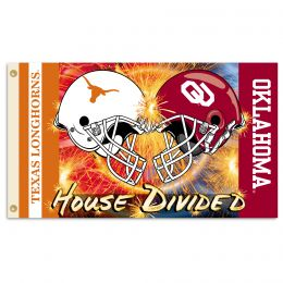 Oklahoma vs Texas 3' x 5' Flag w/Grommets Helmet House Divided
