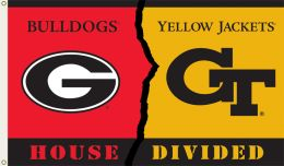 Georgia vs Ga. Tech 3' x 5' Flag w/Grommets Rivalry House Divided