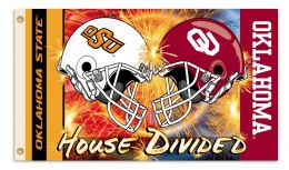 Oklahoma vs Ok St. 3' x 5' Flag w/Grommets Helmet House Divided