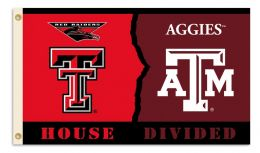 Texas Tech vs Texas A & M 3' x 5' Flag Rivalry House Divided
