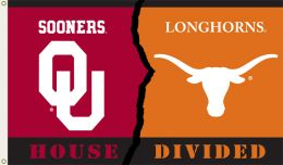 Oklahoma vs Texas 3' x 5' Flag w/Grommets Rivalry House Divided