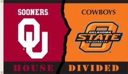 Oklahoma vs Ok St. 3' x 5' Flag w/Grommets Rivalry House Divided