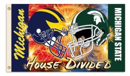 Michigan vs Michigan St. 3' x 5' Flag Helmet House Divided