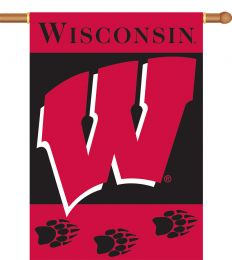 "Wisconsin Badgers Team Logo 2-Sided 28"" X 40"" Banner w/ Pole Sleeve"