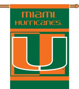 "Miami Hurricanes Logo 2-Sided 28"" X 40"" Banner w/ Pole Sleeve"