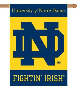"Notre Dame 2-Sided 28"" X 40"" Banner w/ Pole Sleeve NCAA Logo"